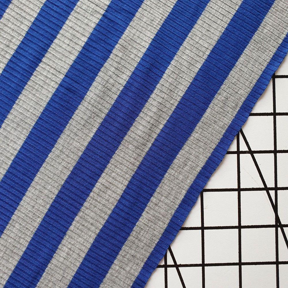 Blue & Grey Stripe - Rib Jersey