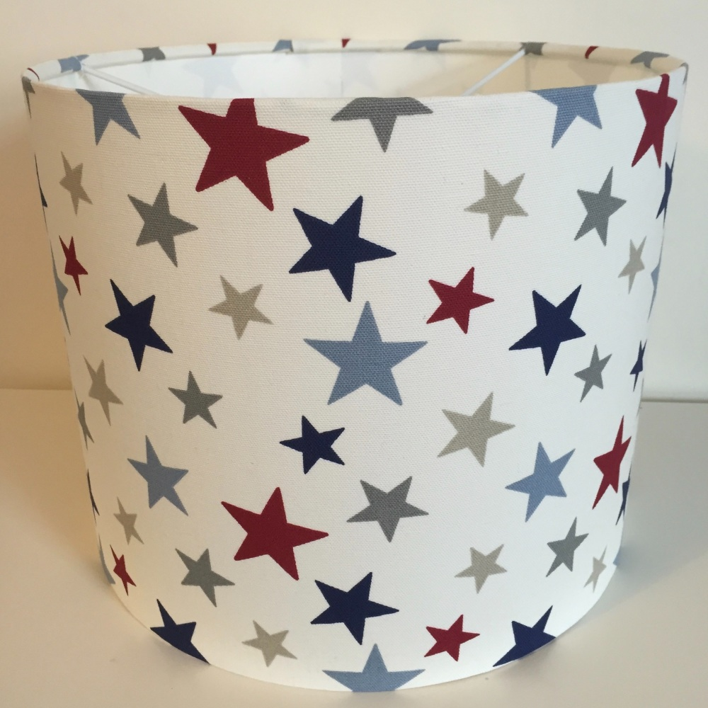 Handmade bespoke Funky Stars Lampshade in Red Blue and Grey