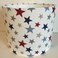 Bespoke Custom Handmade Funky Stars Star Lampshade in Red Blue and Grey