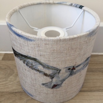 Bespoke Custom Handmade Coastal Natural Grey Linen Clarke Seagull Lampshade