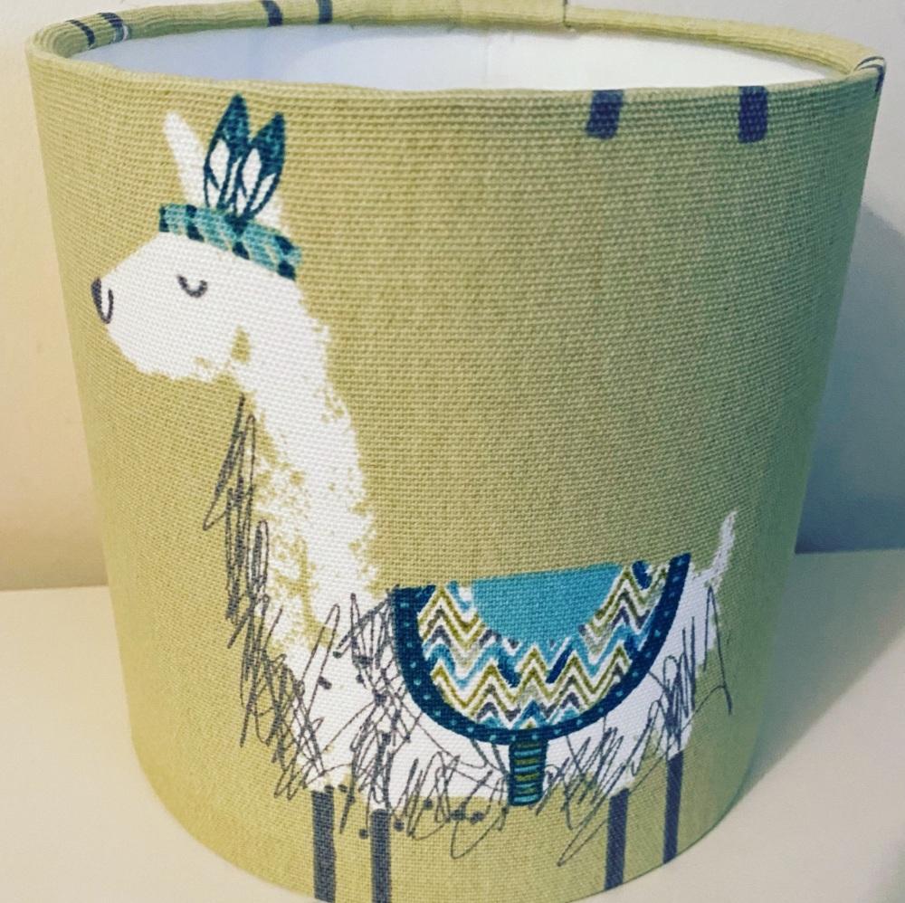 Alpaca llama Pampas Sage Green Kids Animal Lampshade