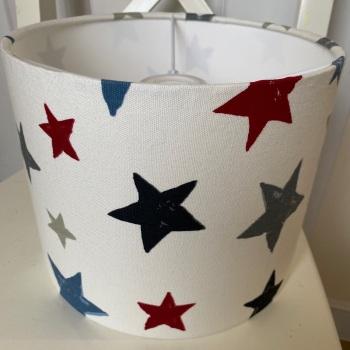 Bespoke Custom Handmade Superstars Graphite Star Stars Lampshade in Red Blue and Grey