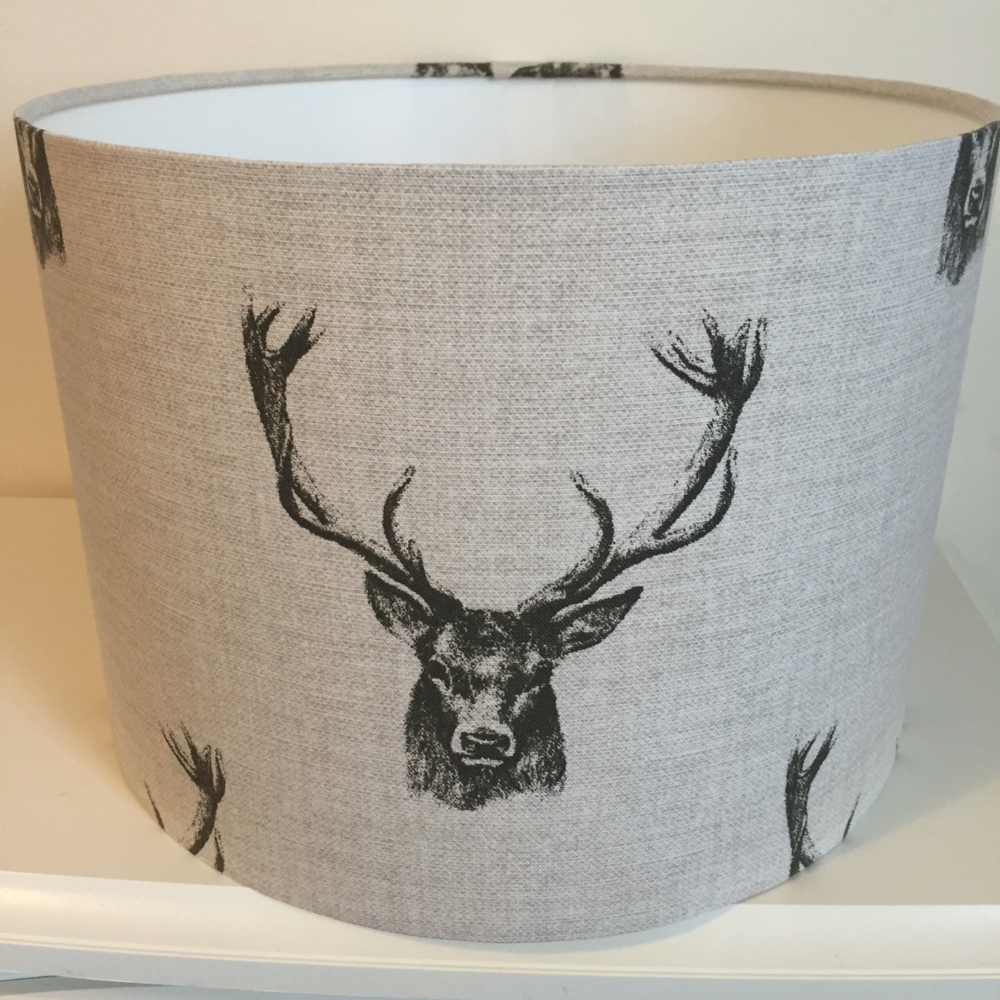 Country Woodland Stag Head Stags Beige Black Lampshade