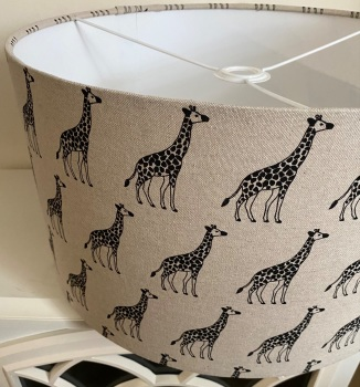 Handmade Giraffe Lampshade  - Linen Zoo Safari Animal Black