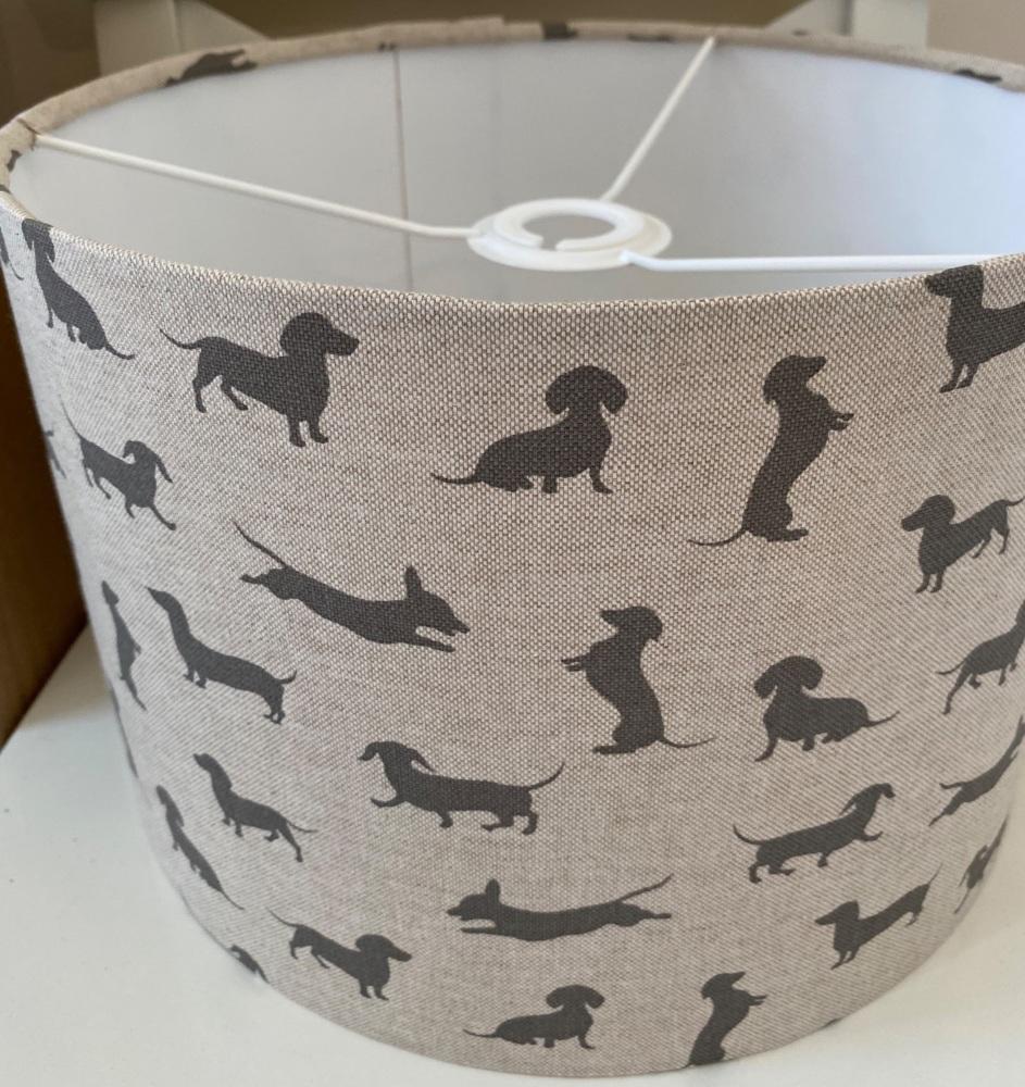 Linen Grey Daxie Dachshund Dog  Lampshade