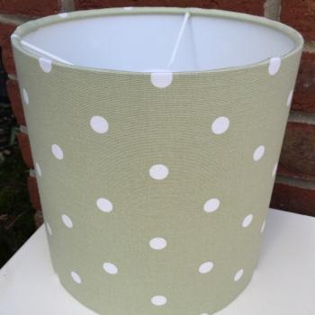Bespoke Custom Handmade Sage Green Spot Spotty Polka Dot Dotty Lampshade