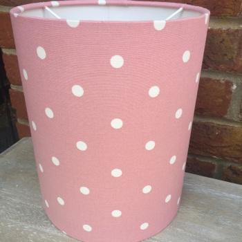 Bespoke Custom Handmade Rose Pink Spot Spotty  Polka Dot Dotty Lampshade