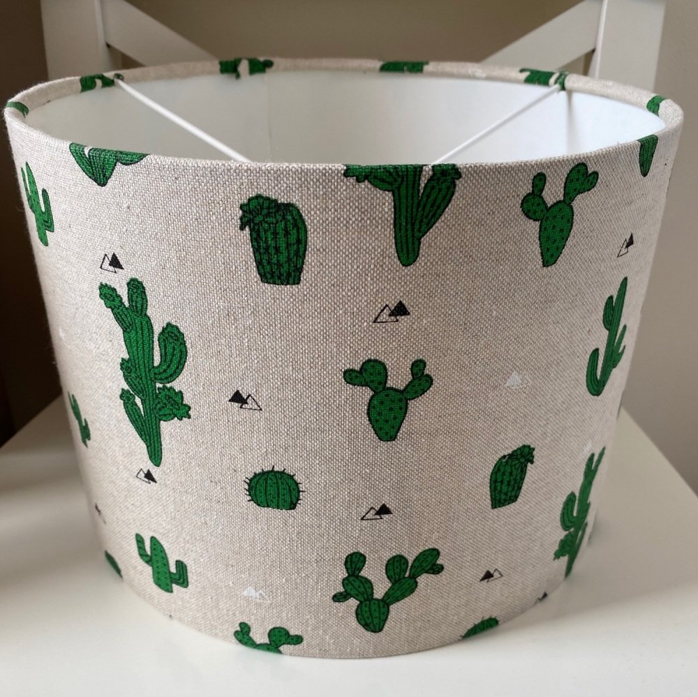 Linen Cactus  Green Kids Plant Lampshade