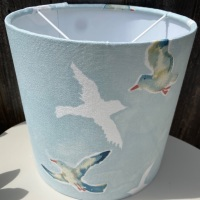 Bespoke Custom Handmade Coastal Blue White Seagull Lampshade