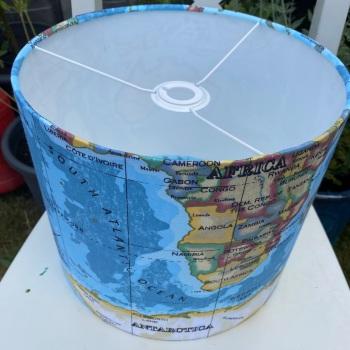 Bespoke Custom Handmade Blue Atlas Azure World Map Lampshade