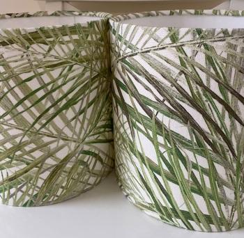 Handmade Lampshade in Tropical Palmero Forest Green Palm Tree Fern Leaf Fabric