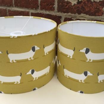 Handmade Dachshund  Lampshade - Mustard Yellow Sausage Dog