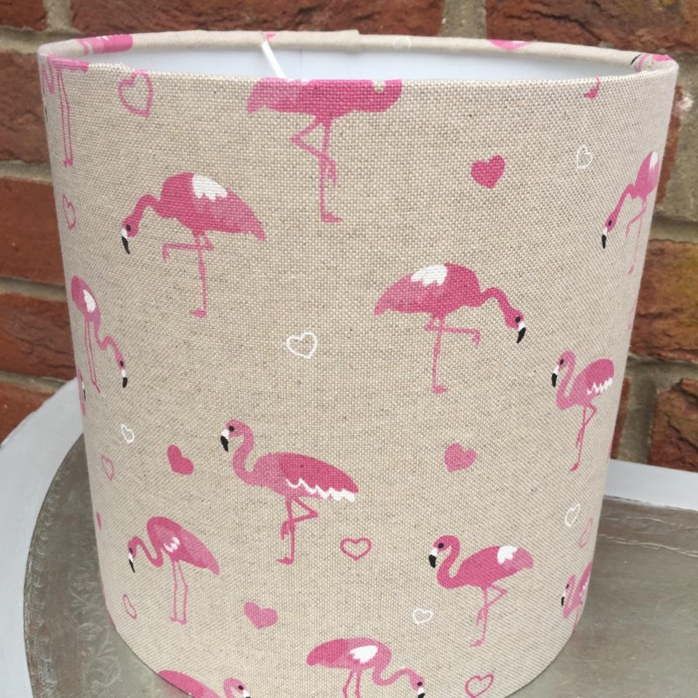 Beige Pink Linen Flamingo Lampshade