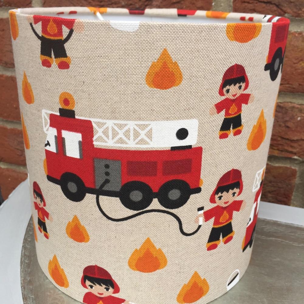 Beige Red Linen Fireman Lampshade