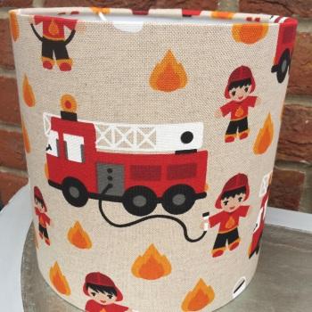Bespoke Custom Handmade Beige Red Linen Kids Fireman Lampshade