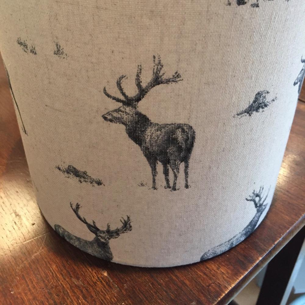Beige Grey Black Linen Stag Woodland Lampshade