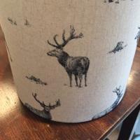 Bespoke Custom handmade Beige Grey Black Linen Stag Woodland Lampshade