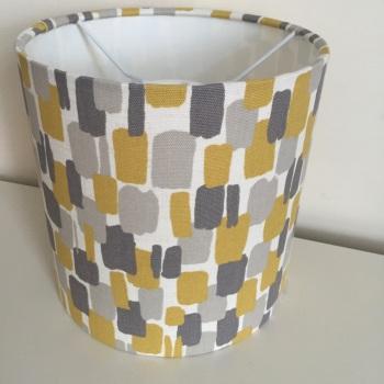 Bespoke Custom Handmade Sundowner Yellow Mustard Grey Geometric Geo Abstract Lampshade