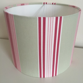 Bespoke Custom Handmade Lulu Stripe Sage Green Pink Lampshade