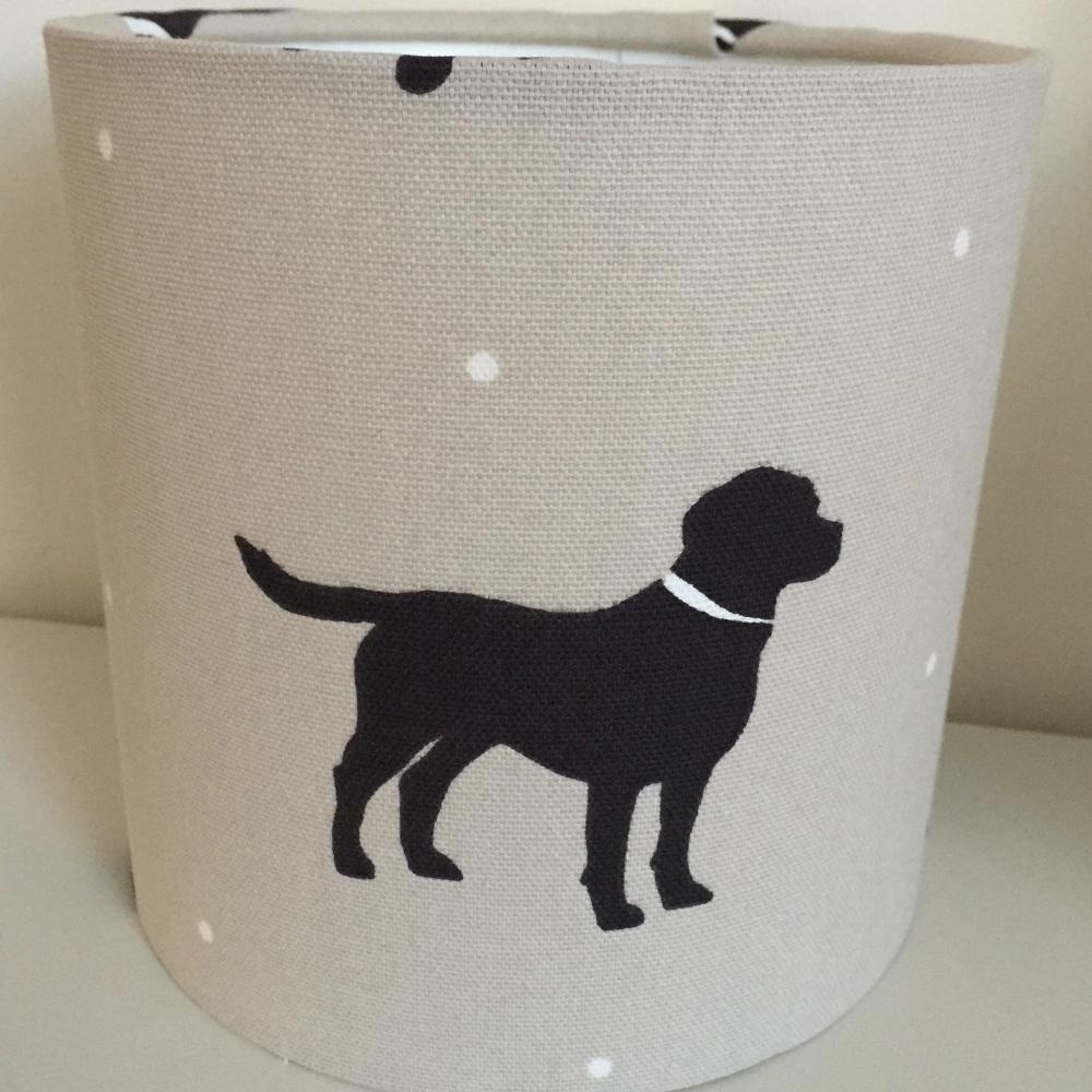 Rover Linen Labrador Dog Beige Linen Black Lampshade