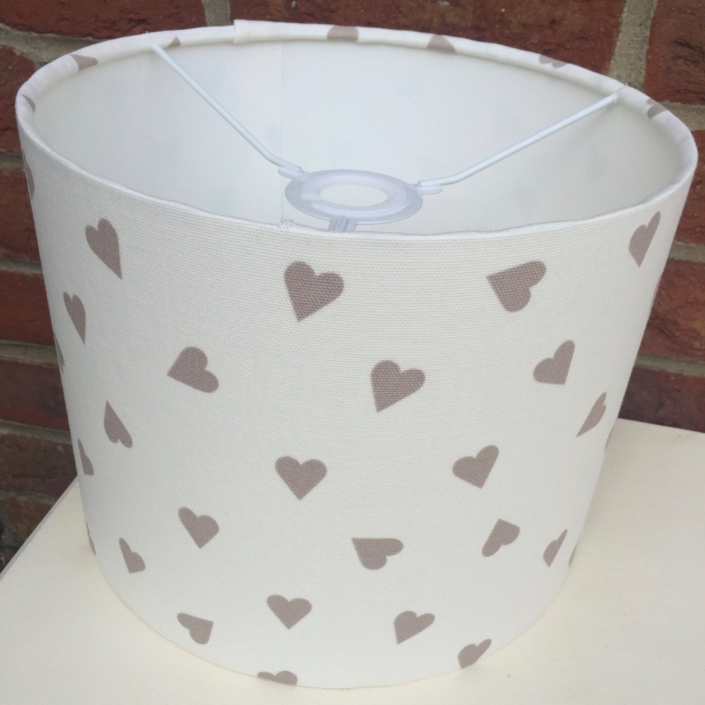 Taupe Brown  White Heart Lampshade