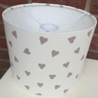 Bespoke Custom Handmade Taupe Brown White Heart Kids Lampshade