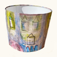 Bespoke Olliebollieboo designed Beach Hut House Seaside Coastal  Lampshade