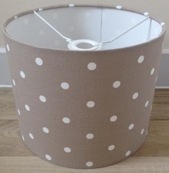 Bespoke Custom Handmade Taupe Brown Spot Spotty Dot Dotty Lampshade