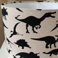 Handmade Dinosaur Lampshade -Kids Linen Beige Black