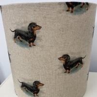 Bespoke Custom Handmade Linen Daxie Dachshund Dog Lampshade