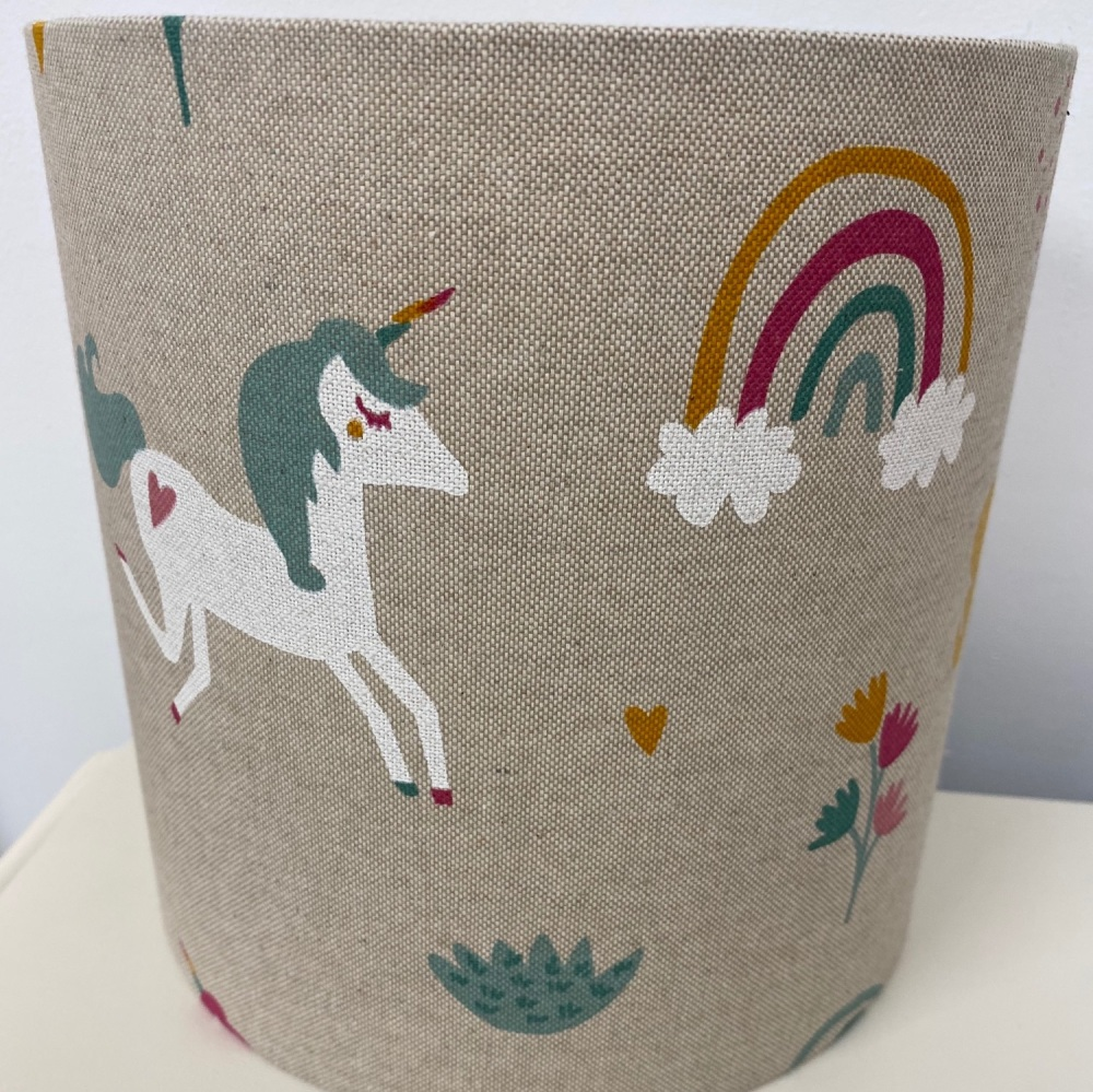 Linen Rainbow Unicorn Beige  Kids Animal Lampshade