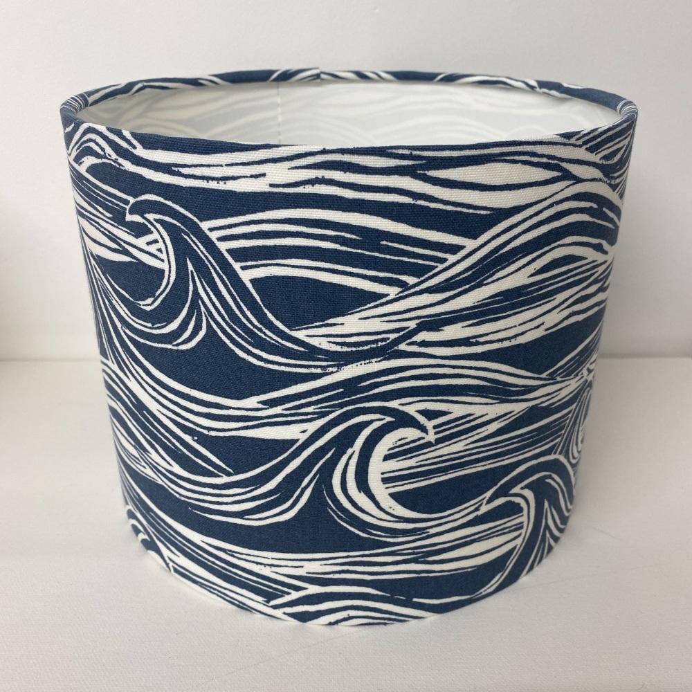 Bespoke Custom Handmade Coastal Waves Navy Blue Nautical  Lampshade
