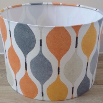 Bespoke Custom Handmade Verve Juice Orange and Grey Geometric Lampshade