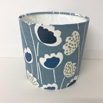 Handmade Bespoke Custom Prestigious Textiles Clara Indigo Blue Sage Fabric Floral Flower Drum Lampshade