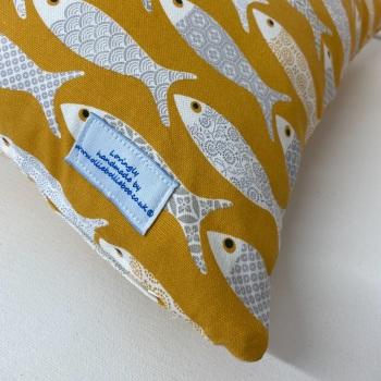 Handmade Fish Cushion - Mustard Yellow Fryetts Poisson Fabric