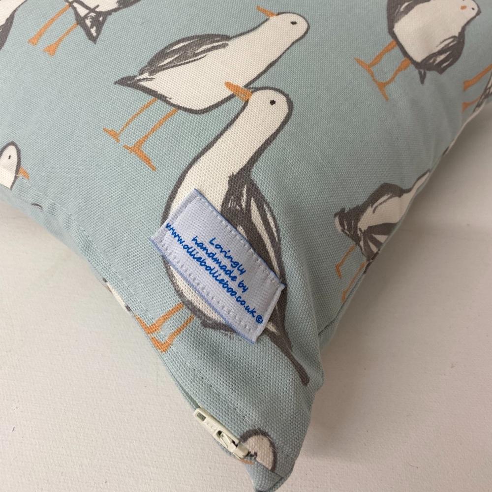 Handmade Seagull Cushion - Blue Laridae Fabric