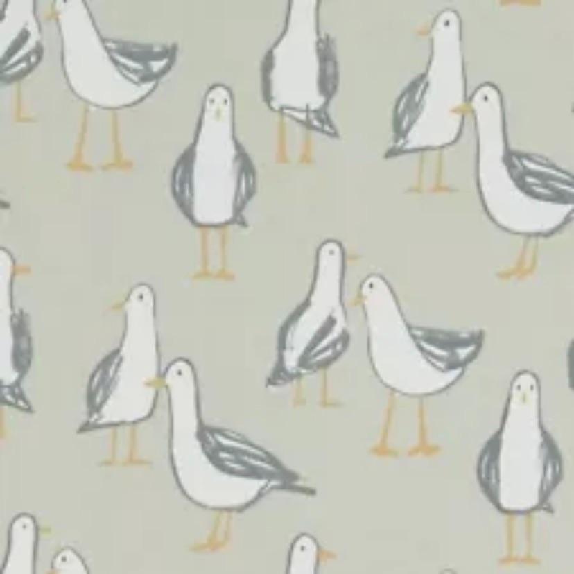 Handmade Seagull Cushion - Taupe brown Laridae Fabric