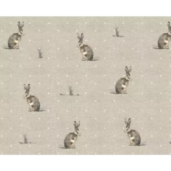 Handmade Hartley Hare Cushion - woodland Fabric