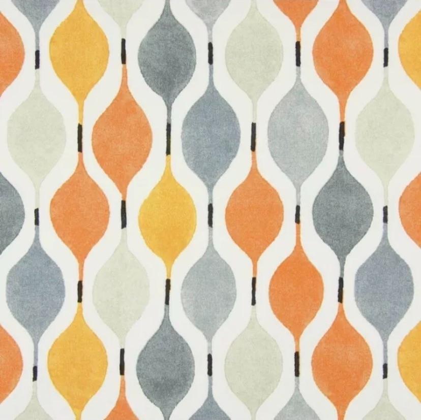 Handmade Geometric Cushion - Grey & Orange Verve Fabric