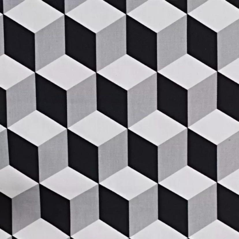 Handmade Geometric Cushion - Black Jet Cube Fabric