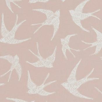 Handmade Swallows Cushion - Pink Bird Fabric