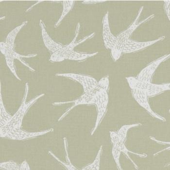 Handmade Swallows Cushion - Sage Green Bird Fabric