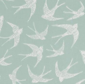 Handmade Swallows Cushion - Seafoam Bird Fabric