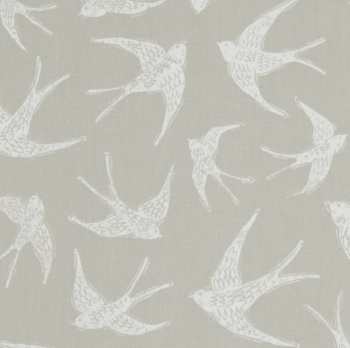 Handmade Swallows Cushion - Taupe Bird Fabric