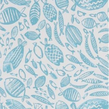 Handmade Fish Cushion - Seafoam Nautical Trawler  Fabric
