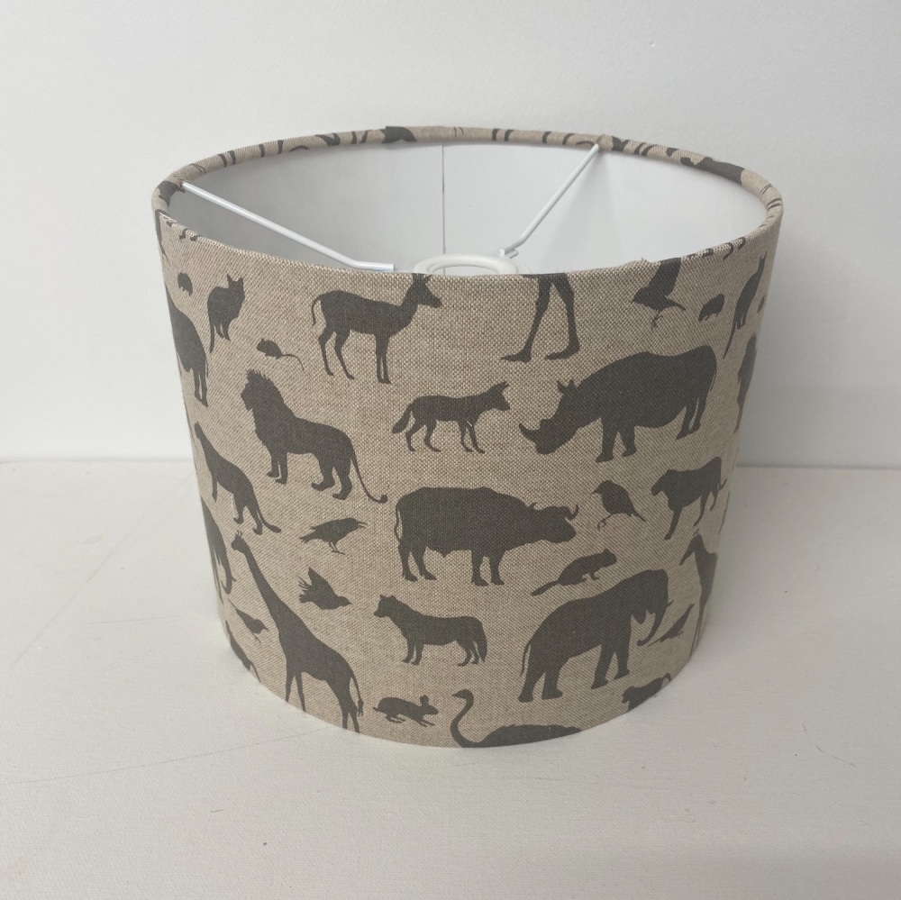 Bespoke Custom Handmade Linen Grey Zoo Safari Giraffe Elephant Rhino Kids L