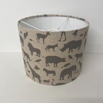 Bespoke Custom Handmade Linen Grey Zoo Safari Giraffe Elephant Rhino Kids Lampshade