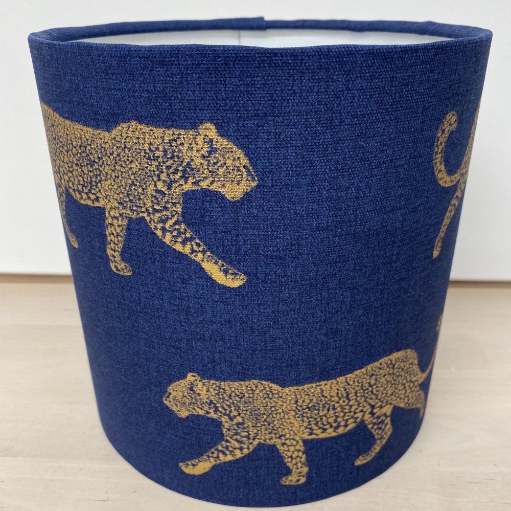 Handmade Leopard Lampshade  - Blue Animal Zoo Safari Fabric
