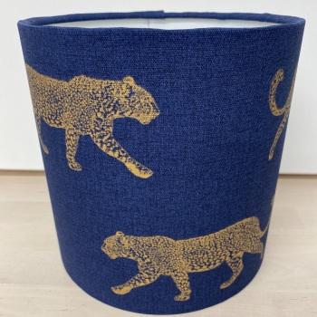 Handmade Leopard Lampshade  - Gold Blue Animal Zoo Safari Fabric