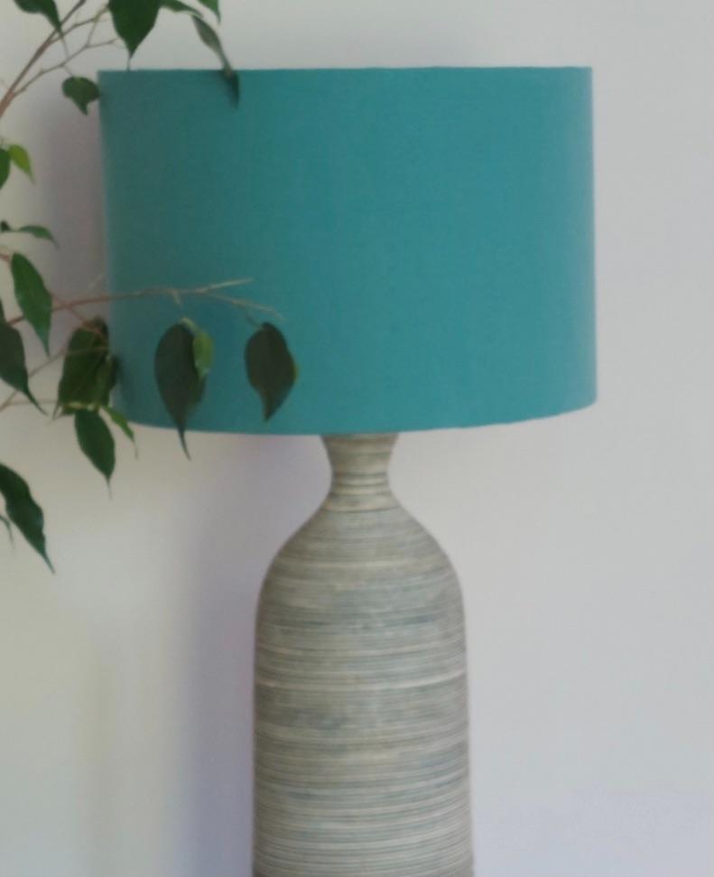 lampshade in Studio G  Alora Surf Turquoise Blue Plain Fabric